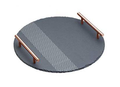 Artesa Etched Slate Round Serving Platter