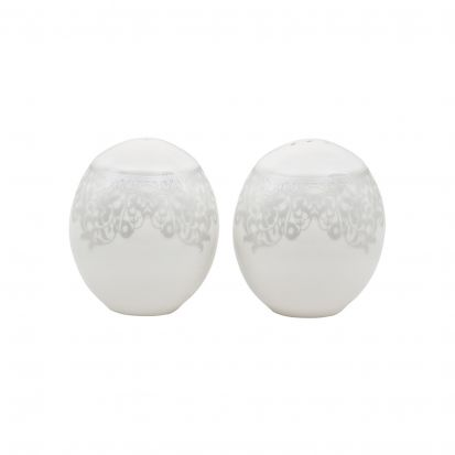 Denby Monsoon Filigree Silver Salt & Pepper Pot Set