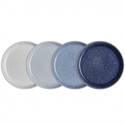 Denby Studio Blue 4 Piece Medium Coupe Plate Set