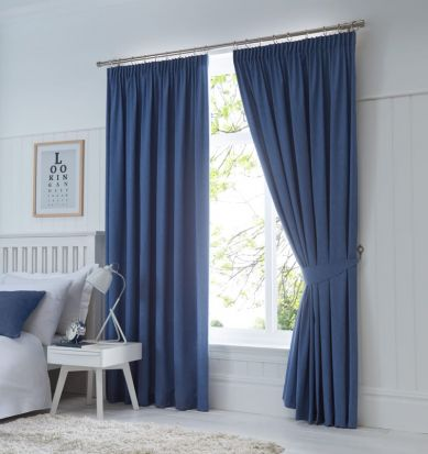 Dijon Ready-Made Blackout Pencil Pleat Curtains - Denim 66