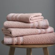 Catherine Lansfield Malawa Geo Bands Blush Towel Bale 2