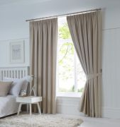 Dijon Ready-Made Blackout Pencil Pleat Curtains - Natural 90